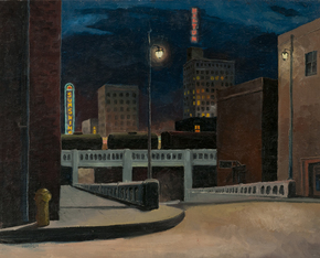 William Warder (1920 Guadalupita, New Mexico - 1999 Albuquerque, New Mexico) Night on Central Avenue 1946 oil on canvas, 32 x 38 in. Albuquerque Museum