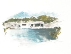 Rio Grande Nature Center Drawing (courtesy of Richard Levy Gallery)