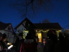 The home at 200 Edith St. was adorned in lights to welcome tour participants.