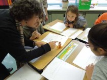 Architect Tina Reames demonstrates concepts to students
