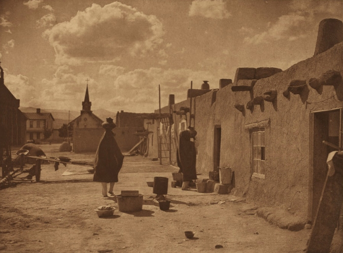 """Street Scene at San Juan."" 1905. Edward S. Curtis, The North American Indian; v.17. Courtesy of Northwestern University Library."