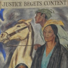 Justice Begets Content Mural. Photo Credit: https://livingnewdeal.org/projects/old-taos-county-courthouse-taos-nm/
